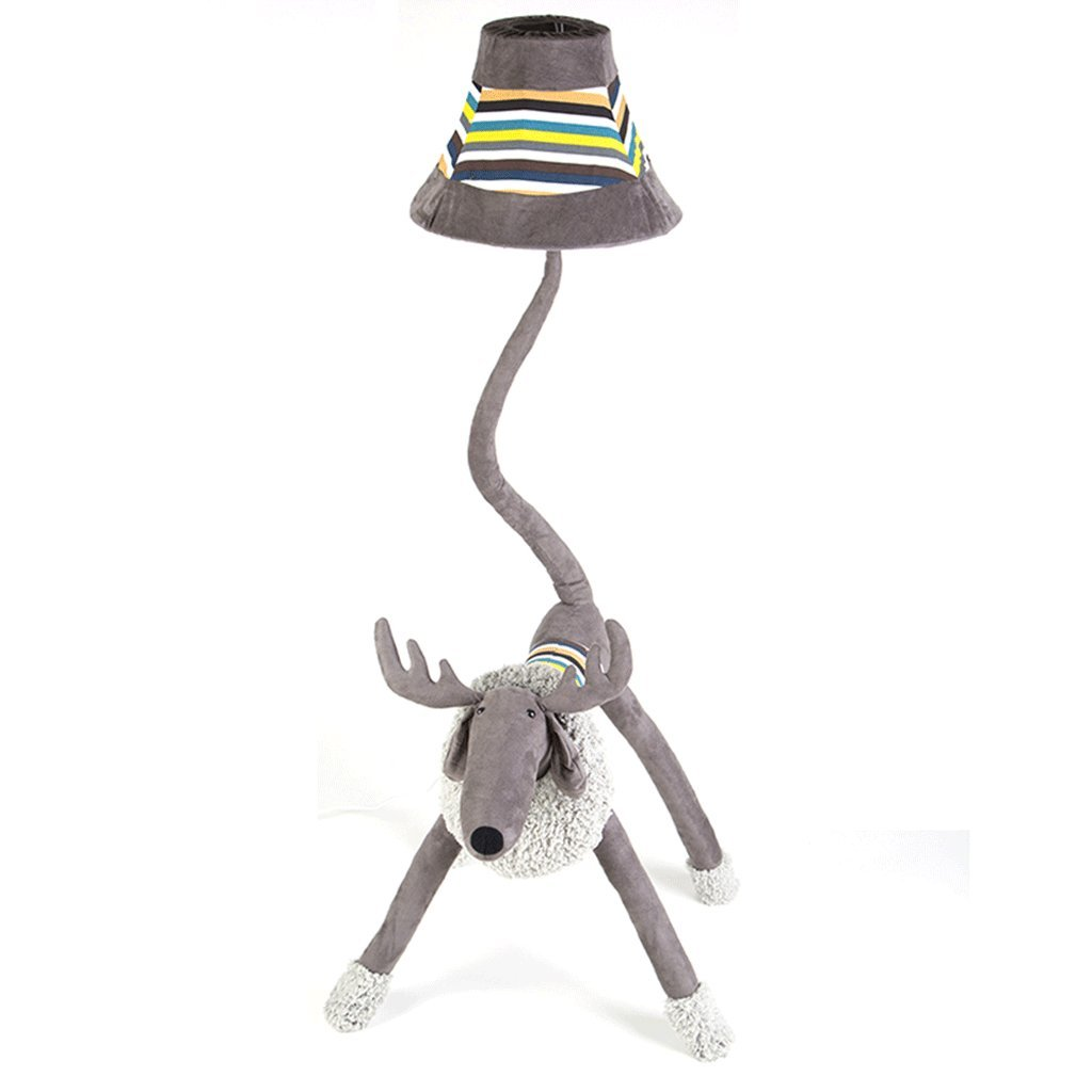 Edge To Cartoon Creative Elk Floor Lamp Remote Control Bedroom Living Room Vertical Table Lamp Children Room Bedside Lamp