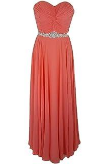 Tiffanys Illusion Prom Coral Amanda Chiffon Strapless Evening Gown