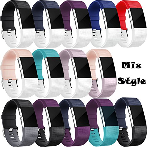 Wepro Bands Replacement for Fitbit Charge 2 HR, Buckle, 15 Colors, Large, Small