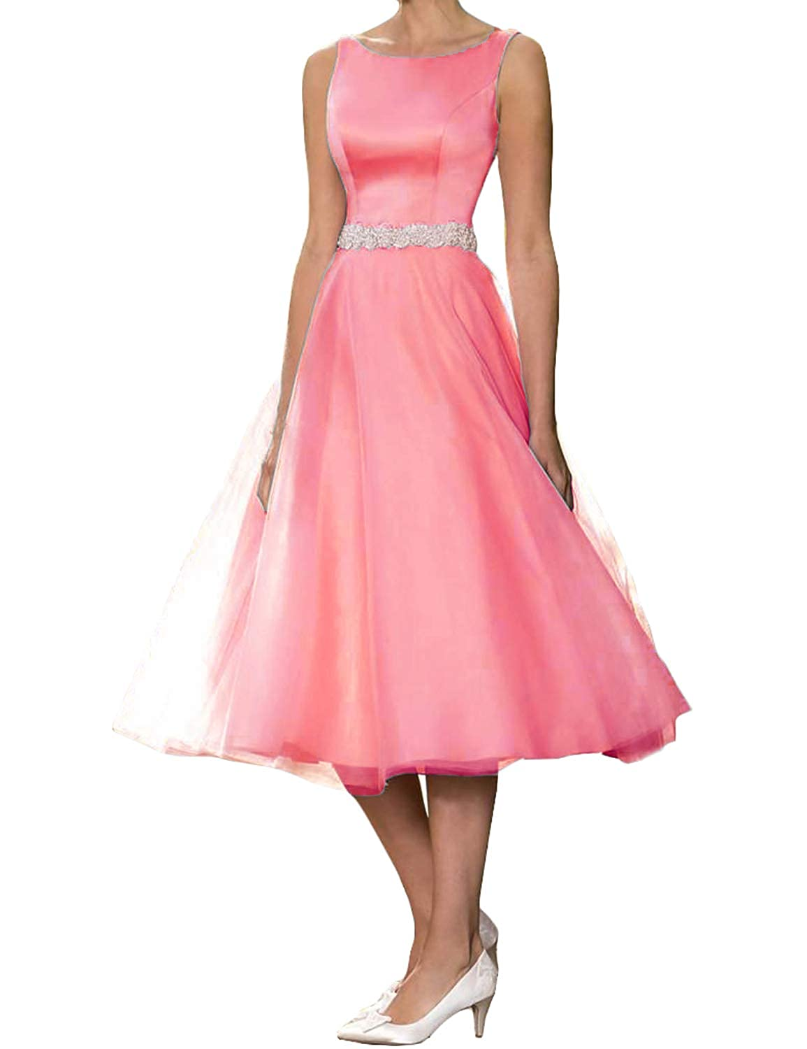 Coral CIRCLEWLD Elegant Evening Dresses for Weddings Vintage Midi Bridal Gown Plus Size E181