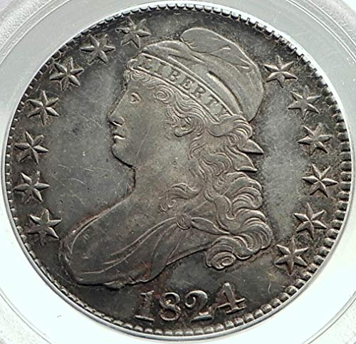 1824 1824 UNITED STATES Capped Liberty Bust Half Dolla coin AU 50 PCGS