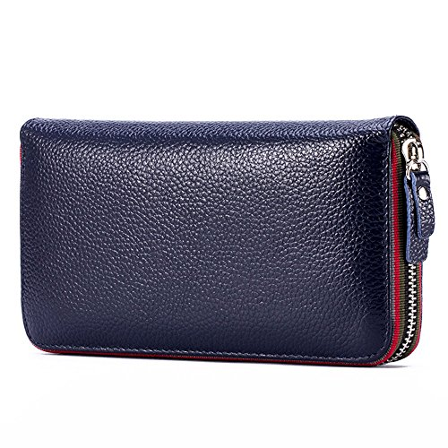 LanKoton RFID Blocking Genuine Leather Large Capacity Clutch Wallet for Women,Credit Card/Coin/Phone Organizer Ladies Zipper Purse
