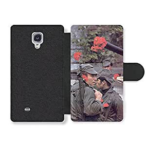 Vintage Retro Photo of Soldiers with Flowers in their Guns Portuguese Fashion Style Faux Leather case for Samsung Galaxy S4