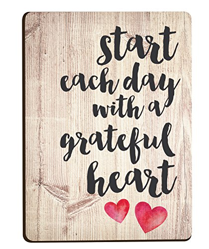 Heart Magnet - Start Each Day Script Red Heart Distressed Wood Look 3 x 4 Inch Wood Lithograph Magnet