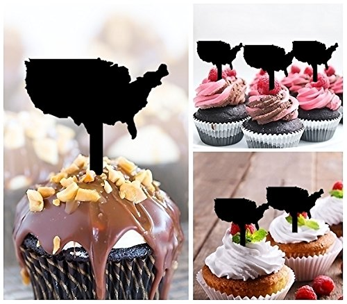 TA0267 America Silhouette Party Wedding Birthday Acrylic Cupcake Toppers Decor 10 pcs