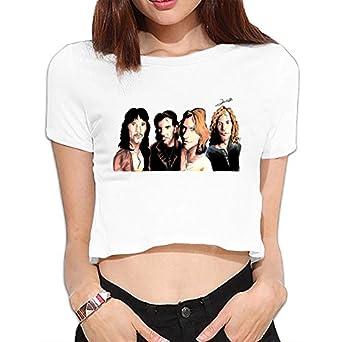 Amazon.com: Bon Jovi Logo Women Dew Navel Attire Tshirt