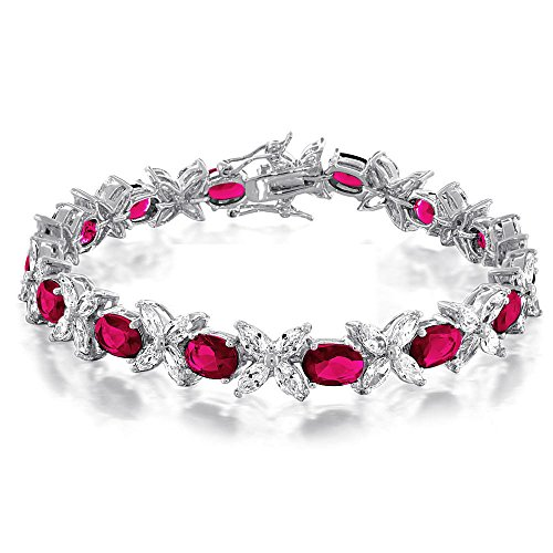 Simulated Marquise Ruby - Bling Jewelry Marquise Simulated Ruby CZ Tennis Bracelet Rhodium Plated