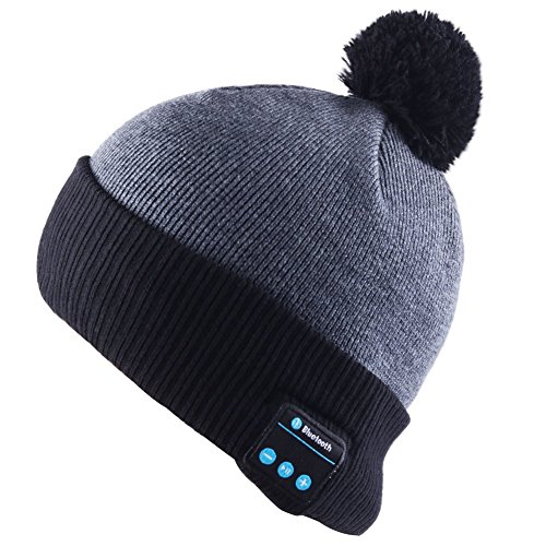 Bluetooth Beanie Headset Musical Winter Knit Headphone Hats Warm Soft Cap with Stereo Speakers built-in Mic Hands Free for Outdoor Sports Christmas (201 Microphone Stand)