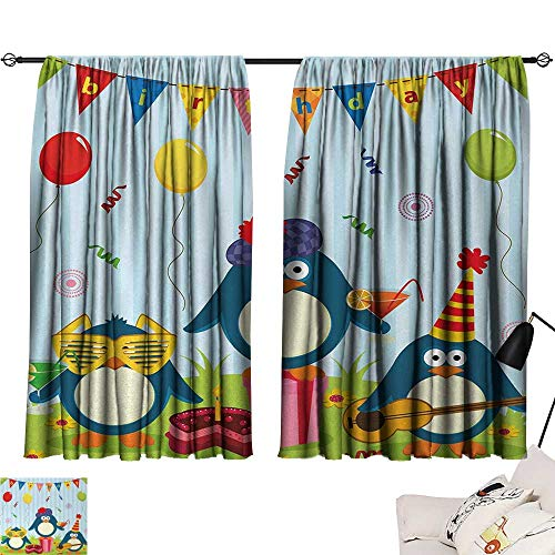 Kids Birthday Curtain Kitchen Window Cartoon Style Penguin Party with Flags Cakes and Surprise Box Window Darkening Curtains Light Blue and Fern Green W55 x L39 by Jinguizi (Image #6)