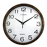 G-Kgagze 12-Inch Large Non Ticking Silent Wall Clock Vintage Decorative Battery Operated Quartz Analog Quiet Lightweight Wall Clock-Cinnamon