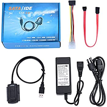 """AGPtek SATA/PATA/IDE Drive to USB 2.0 Adapter Converter Cable for Hard Drive Disk HDD 2.5"""" 3.5"""" with External AC Power Adapter"""