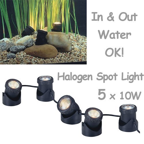 50w Halogen Submersible Light for Water Gardens and Ponds, Set of 5 ()