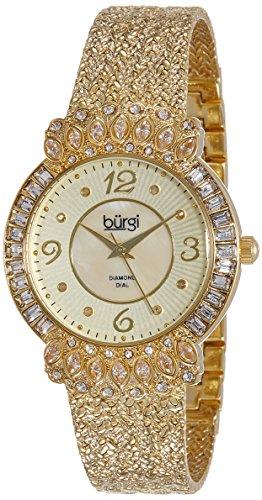 Burgi Women's BUR120YG Gold-Tone Watch with Textured Bracelet