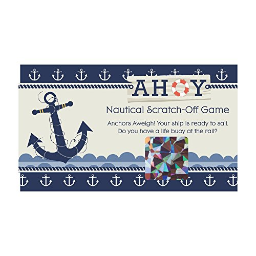Big Dot of Happiness Ahoy Nautical - Baby Shower or Birthday Party Game Scratch Off Cards - 22 Count