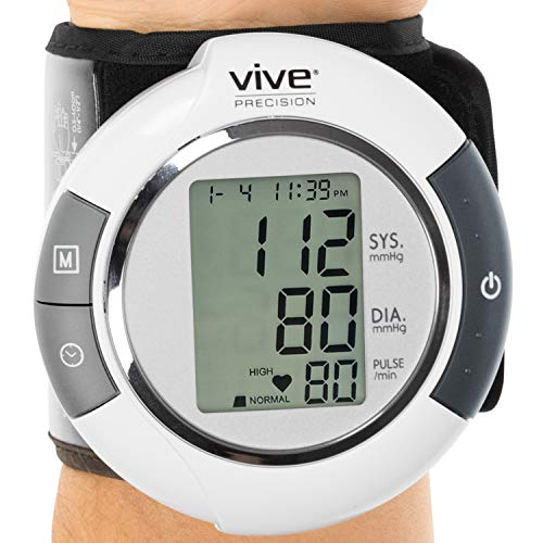 (Vive Precision Blood Pressure Cuff Wrist - Automatic BPM - Digital Monitor BP Tester Machine - Portable, Accurate, Electronic, Home Meter Device - Auto Heart Reader for Pulse Rate - 1 Size Fits Most)