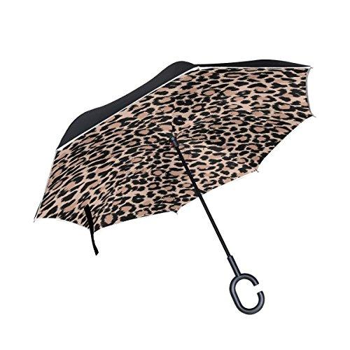 All Agree Inverted Reverse Umbrella Leopard Windproof Car Rain Outdoor