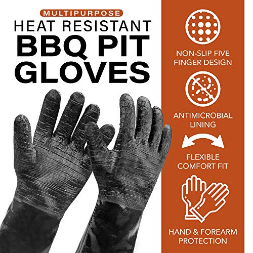 """Heatsistance Heat Resistant BBQ Gloves, 14"""" Long Sleeve, Extra Large Textured Grip to Handle Wet, Greasy or Oily Foods Fire and Food Safe Turkey Fryer Oven Mitts for Smoker, Grills and Barbecue"""