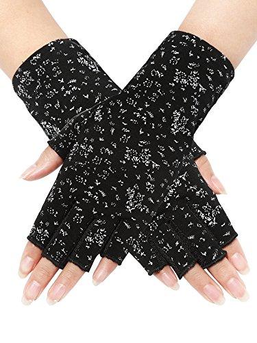 Maxdot Women Sunblock Fingerless Gloves Non Skid Summer Gloves UV Protection Driving Gloves (Black, 1 Pair) (Black)