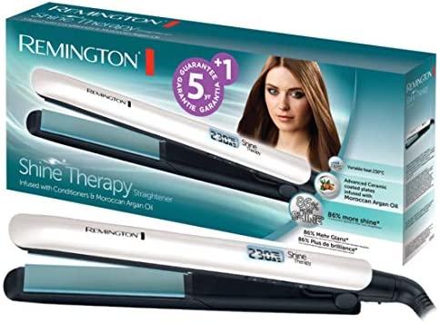 Remington Shine Therapy S8500 - Plancha de Pelo, Cerámica Avanzada, Digital, Aceite de Argán, Blanco, Resultados Profesionales