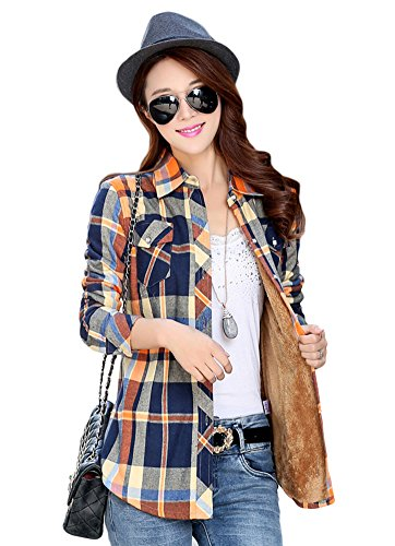 Plaid Multi Flannel - AvaCostume Womens Casual Fleece Winter Plaid Slim Shirt Blouse, L, Yellowblue