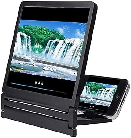 Honsin Handy-Bildschirm Pantalla con 3D-Lupe 2-3-fache Ampliación High Definition Amplificador Foldable - Negro