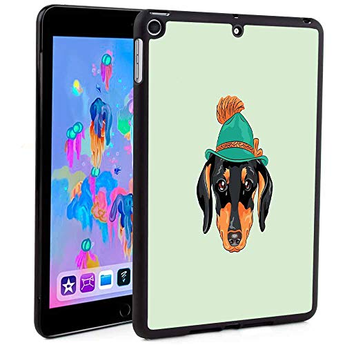(iPad Mini 5 Case Print,Hipster Pure Breed Dog Silhouette in a Green Tyrolean Hat Cute Dachshund Puppy Print TPU Leather Tablet Cover Case for Apple iPad,(Custom Pattern iPad Mini 5 case))