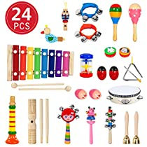 Toddler Musical Instruments, 24PCS 17 Types Wooden Percussion Instruments Toys for Baby Kids Preschool Education, Early Learning Musical Xylophone Tambourine Drums Toy for Boys and Girls with Storage Backpack ByMIBOTE