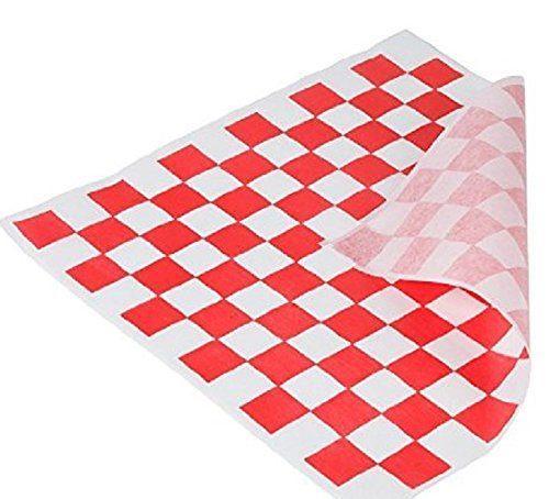 Distinct Possibilities Food Wrap and Basket Liner Paper, Red Checkered, 12 x 12 inch - 100 ct (Serving Wrap)