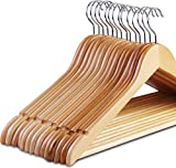 Zoyer Wood Suit Hangers (20 Pack) - Premium Quality Wooden Coat Hangers - Strong and Durable Suit Hangers - Natural