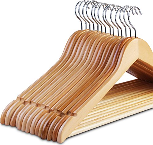 Zoyer New Improved Wood Suit Hangers (20 Pack) - Premium Quality Wooden Coat Hangers - Strong And Durable Suit Hangers - Natural