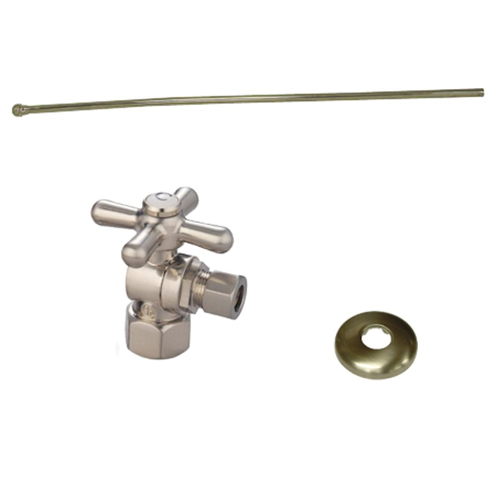 Kingston Brass KTK108P Toilet Supply Kits Combo 1/2-Inch IPS Inlet, 3/8-Inch Compression Outlet, Satin Nickel