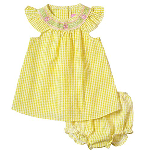 Good Lad Newborn?Infant Girls Yellow Bishop Collar Smocked Seersucker Sundress with Matching Seersucker - Girls Smocked Sundress