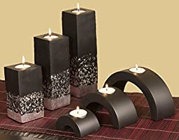 Set of 6 Black Mango Wood Candle Holders - Silver Accent