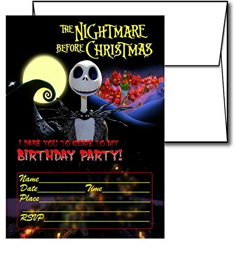 12 NIGHTMARE BEFORE CHRISTMAS Holiday Invitation Cards (12 White Envelops Included) -