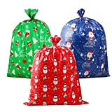 """CCINEE 3 PCS Christmas Giant Gift Bags Santa Claus Christmas Sacks for Kids Gift Wrapping Bags(36""""x44"""") with Name Tag Card and String: more info"""