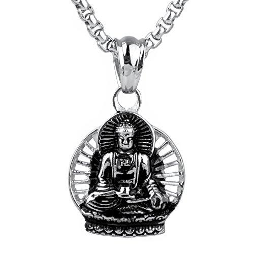 Silver Buddha Pendant - COPAUL Men's Retro Stainless Steel Buddha Religious Pendant Necklace Silver