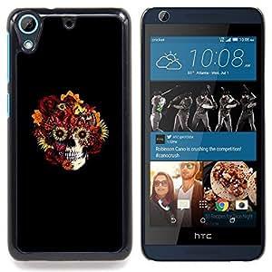 Floral Skull - Goth Art Caja protectora de pl¨¢stico duro Dise?ado King Case For HTC Desire 626 & 626s