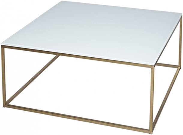 Gillmore Space Verre Blanc Table Basse Carre D Or Metal