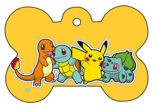 Pokemon Art Dog Pet Cat ID Tag Bone Shape Image Photo Personalized with Key Ring (Group 2) -