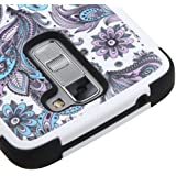 LG Treasure 4G LTE L51AL / L52VL / K7 MS330 / Tribute 5 LS675 Case, Kaleidio [Natural TUFF] Shock Absorption Heavy Duty Dual Layer Cover [Includes a Overbrawn Prying Tool] [Blue & Purple Paisley]