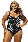 Lalagen Women's Retro Strap Polka Dot One Piece Swimsuit Plus Size bikini Polka Dot XL