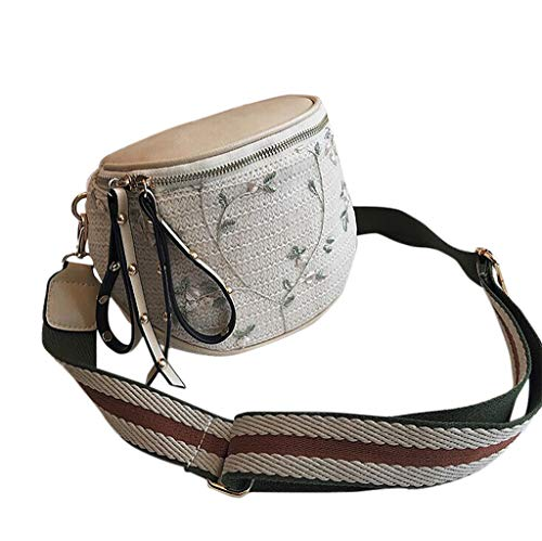 CCFAMILY Women New Fashion Break Wild Bucket Bag Messenger Shoulder Bag Weaving Bag ()