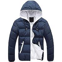 Abrigo de Invierno de Manga Larga con Cremallera para Hombre Chaqueta con Capucha Outwear Color de Contraste Escudo