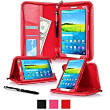"""rooCASE Samsung Galaxy Tab S 8.4 Case - Executive Portfolio Leather 8.4-Inch 8.4"""" Cover with Landscape, Portrait, Typing Stand, Hand Strap - Red (With Auto Wake / Sleep Smart Cover)"""