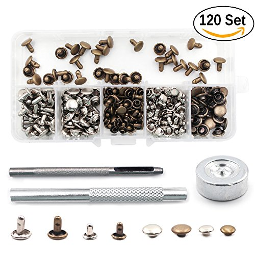 BUWANT Rivets Double Cap Rivets with Fixing Tool Kit 120 Set for Leather Craft Repairs Decoration,2 size 8mm and 6mm,2 color silver and bronze