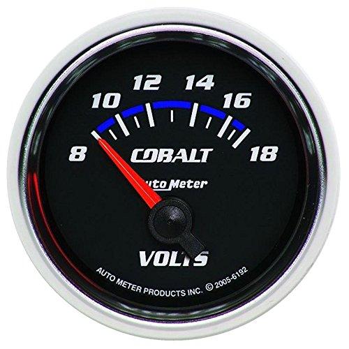 - Autometer Cobalt 52mm 8-18 Volts Short Sweep Electric Voltmeter Gauge (am6192)