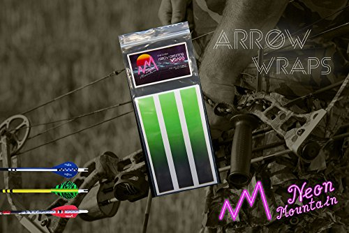 Neon Mountain Arrow Basics Wraps For Carbon Shafts 12 Pack- Arrow Stickers- 3 Sizes- Solid Fade to Black Colors (Green, 4 Inch)