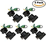 40 amp bosch relay - Ehdis Car Truck Relay Socket Harness kit 5 Pin 5 Pre-wired 24V 40 Amp SPDT Bosch Style, Automotive Motor Relay Contactor Switches Power, Pack of 5