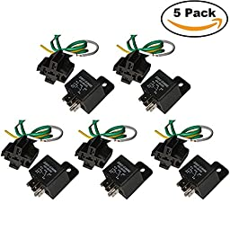 Ehdis Car Truck Relay Socket Harness kit 5 Pin 5 Pre-wired 24V 40 Amp SPDT Bosch Style, Waterproof Motor Relay Contactor Switches Power, Pack of 5