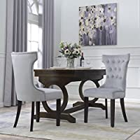 Belleze Premium Dining Chair Accent Living Room Nailhead Side Chairs (Set of 2) Gray